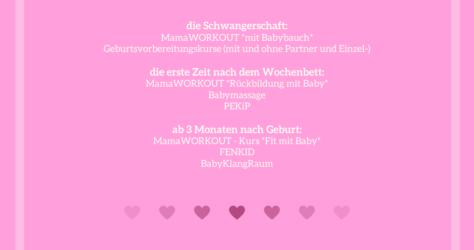 Kurse für Schwangerschaft, nach der Geburt und im 1. Babyjahr