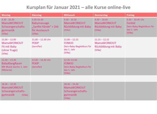 Kursplan für Januar 2021