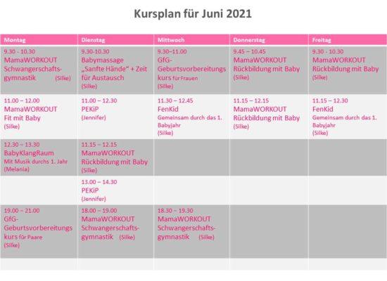 Kursplan für Juni 2021