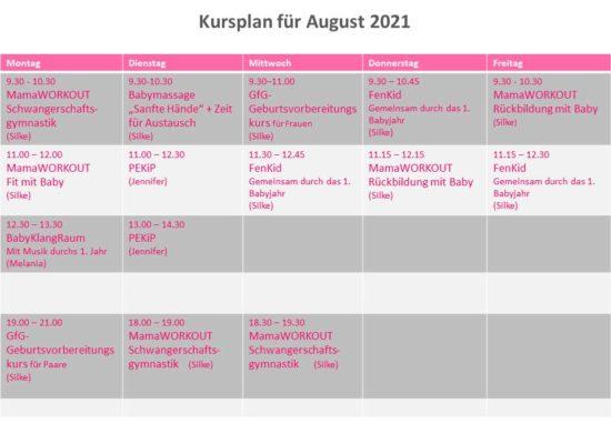 Kursplan für August 2021