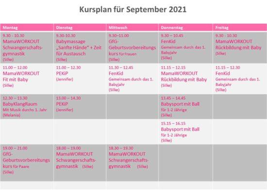 Kursplan für September 2021