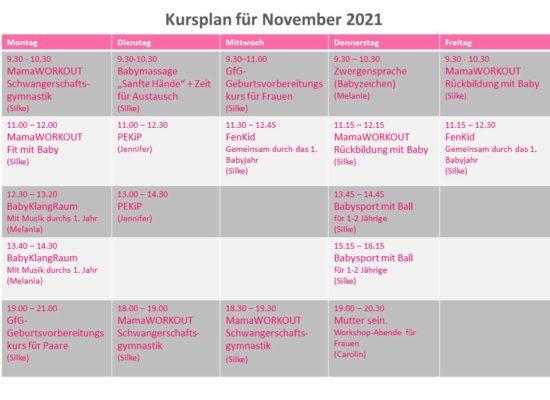 Kursplan für November 2021